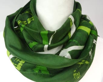 Hand painted silk scarf, Christmas green scarf, handpainted,  olive green silk scarf, lime green silk scarf, batik green silk scarf
