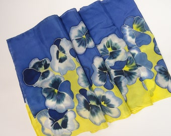 Hand Painted Blue Pansies Silk Scarf. Yellow and Blue Pansies Silk Scarf.