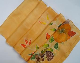 Orange Silk Scarf. Hand painted autumn colourful leaves hand painted silk scarf.