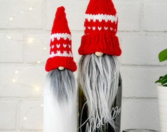 Nordic Gnome Bottle Topper , Red  Valentine's Day , Mothers Day , handmade , tomte , Scandinavian Gnome , Made in Brooklyn
