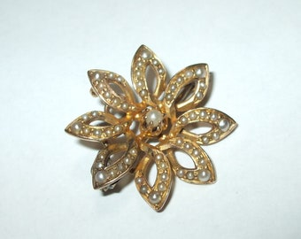 b858932c3c5 Antique Victorian Solid 14Kt Yellow Gold Flower Seed Pearl Encrusted Brooch  Pendant for Necklace 7 8