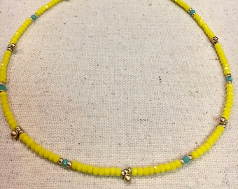 Yellow/Turquoise Faceted Beaded Choker