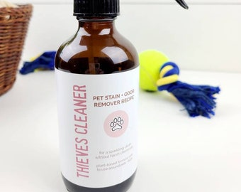 Thieves Pet Stain & Odor Remover labels