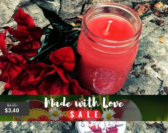 Scented Cranberry Peppermint Fragranced Soy Candle Hand Made in Mason Jar + Free Shipping orders over 50USD - Coupon Code SHIPFREE