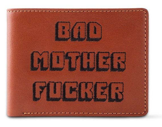 Bad Mother Fucker Tan Embroidered Leather Wallet