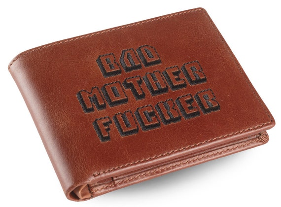 Bad Mother Fucker Brown Embroidered Premium Leather Wallet