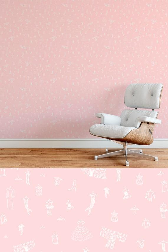 Modern Wallpaper - Girls Bedroom Closet - Pink and White - Mermaids -  Copper Corners Art