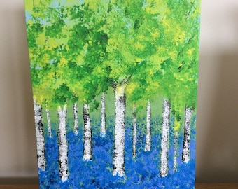 Birch and bluebells in spring. Original painting