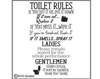 Toilet rules svg   Etsy