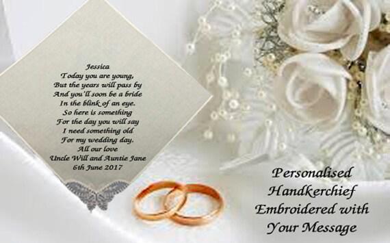 FLOWER GIRL EMBROIDERED PERSONALISED LADIES HANKIES WEDDING GIFT HANDKERCHIEF