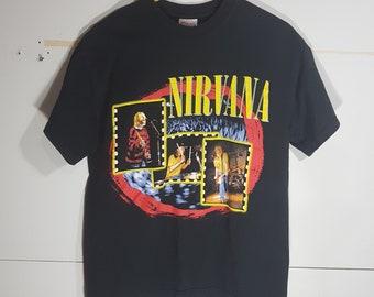 fb44f0e8 Vintage Nirvana Tour t shirt, 90 s Nirvana t shirt, 90 s rock and roll,  punk, hardcore, metal, size men's Sm, 90 s Kurt Cobain