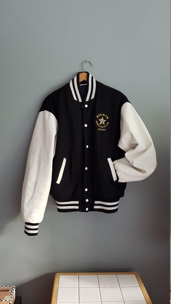 Vintage black and white bomber jacket, 80 s bomber