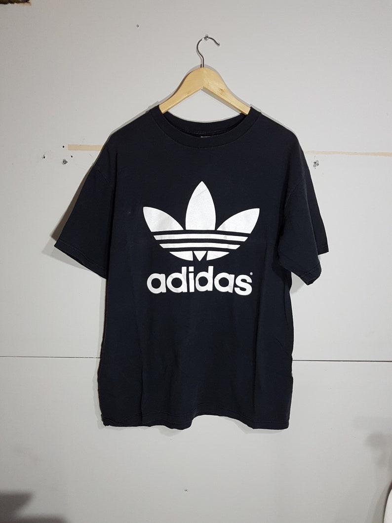 WhiteBig Shirt90s Black WearRapHip MediumOgStreet T Men's HopSwag Adidas Trefoil Vintage LogoSize And kZiPXTOu