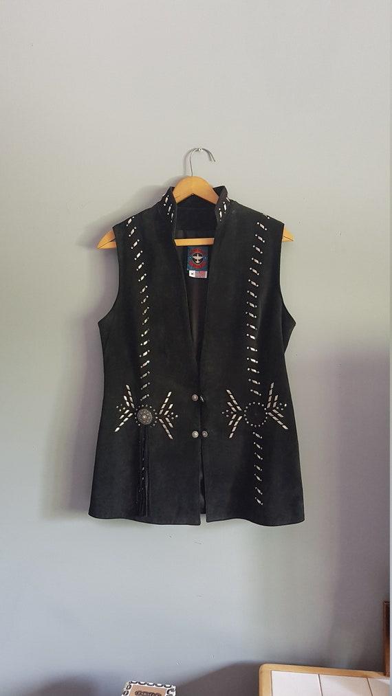 Vintage leather fringe vest, 90s suede fringe vest