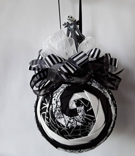 Nightmare Before Christmas Images Black And White.Jack Skellington Swirl Nightmare Before Christmas Quilted Ornament