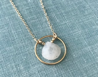 Moonstone Gold Circle Pendant Necklace // Layering Necklace // Circle Necklace // Gemstone June Birthstone Jewelry // FREE SHIPPING