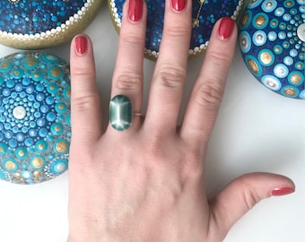 Blue Porcelain Rounded Emerald Jewel Ring // Sterling Silver // Ceramic Cabochon // Size 5, 6, 7, 8, 9 // Gift for Her //FREE SHIPPING
