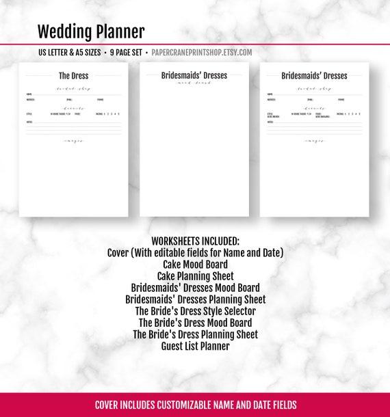 wedding planner book wedding planning pdf wedding planning etsy