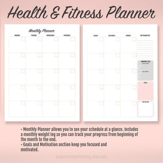 fitness planner habit tracker weight loss tracker weight etsy