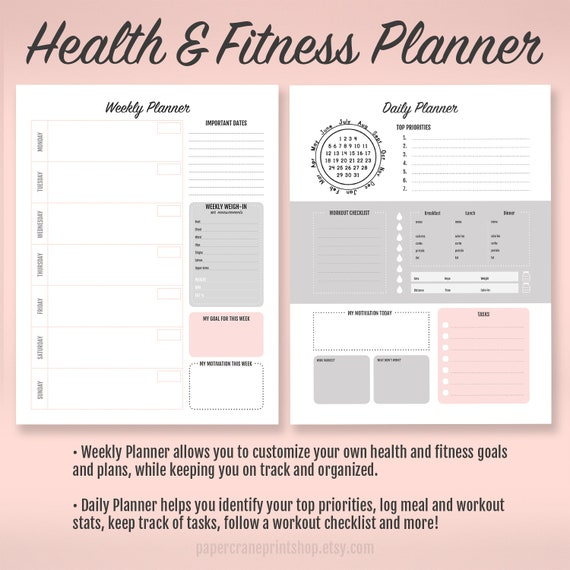 fitness planner habit tracker weight loss tracker weight etsy
