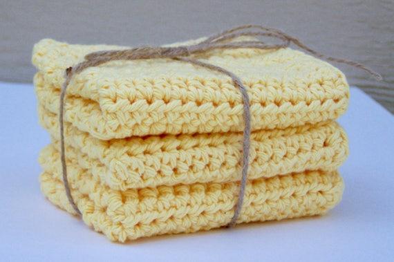 Jaune au Crochet gant de toilette jaune torchon / bonneterie débarbouillettes / coton torchon / débarbouillettes en coton / lot de 3 débarbouillettes