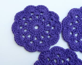 Crochet coasters / Purple coasters / Flower Coasters / Drink coasters / Handmade coasters / Cotton Coaster / Crochet doily / Round coaster