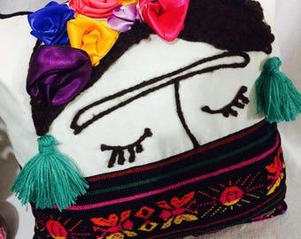 Decorative Pillow, Decorative Cushion, Frida Kahlo Pillow, Frida Kahlo Cushion, Frida, Exotic Pillow, Mexican Design, Cushion Fabric Aztec