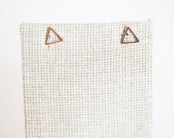 Mat or rose plaqué boucles d'oreilles triangle