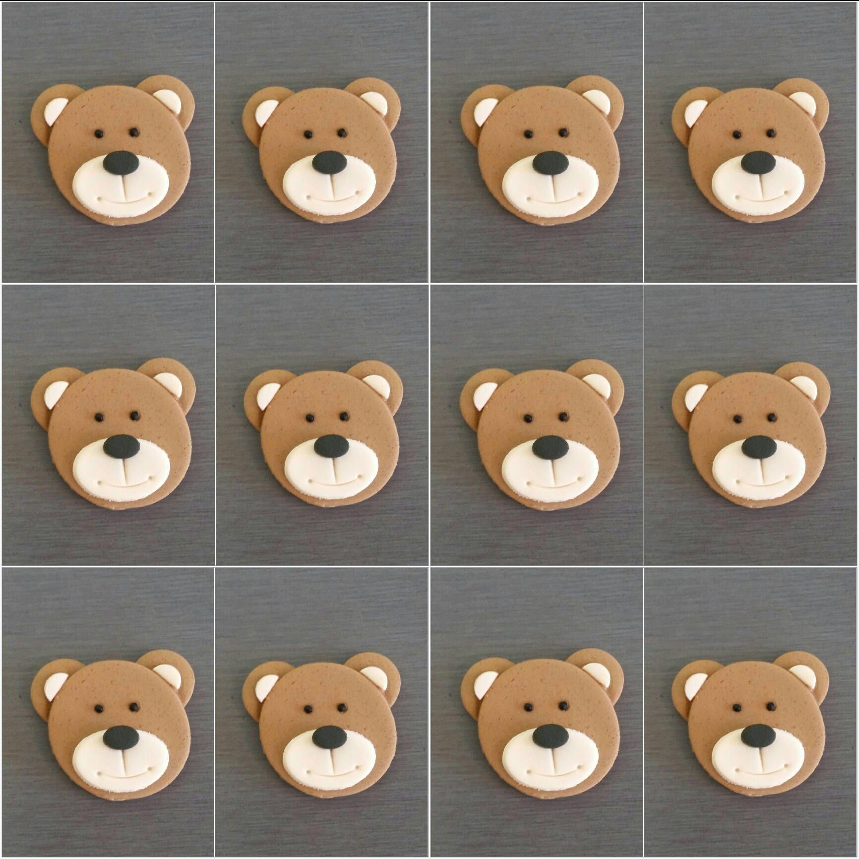 12 X Teddy Bear Cupcake Toppers Fondant Teddy S Teddy Etsy