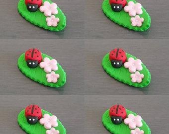 6 x Ladybug Leaf cupcake topper, Edible fondant ladybug decorations, garden party, Ladybug cake topper,
