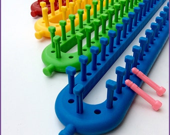 KnitUK Long Knitting Loom Set of 4. Extra-pegs included.