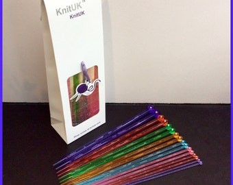 KnitUK Knitting Needles Set of 8 pairs. Single pointed needles 4.0 - 12mm