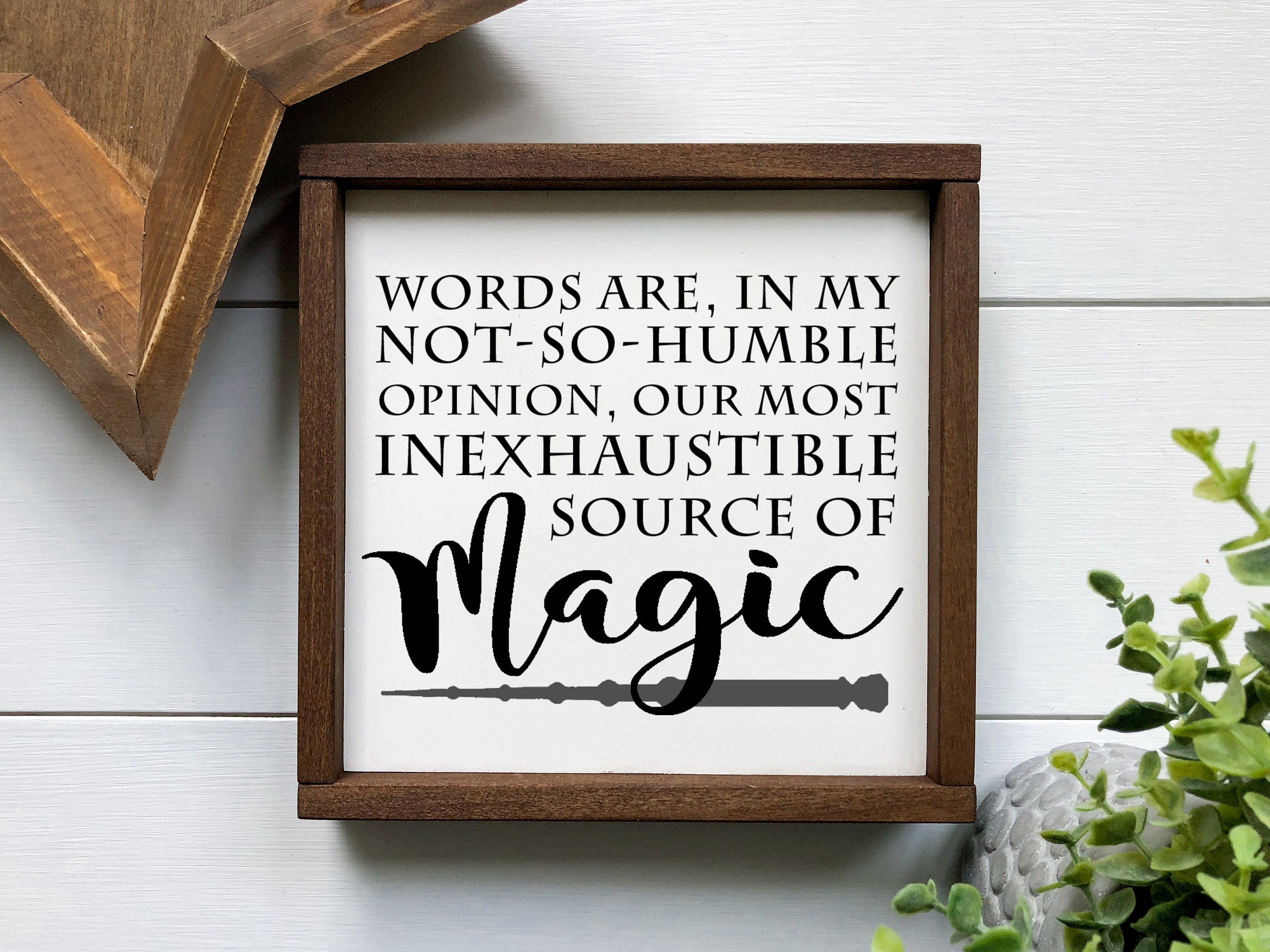 Harry Potter Words Are Magic Wood Sign Etsy