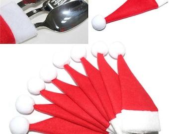 10 Piece Christmas Santa Hat Utensil/Silverware Holder Tableware Set