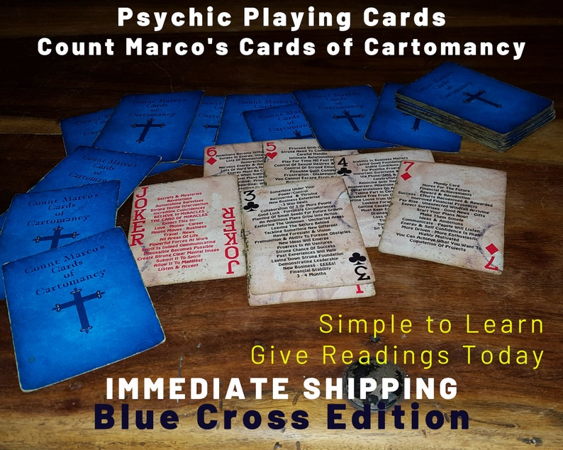 PSYCHIC ORACLE Cards Blue Cross Edition  Give Accurate image 0