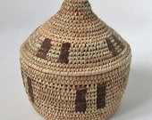 Decor wicker box for jewelry and storage, Strong woven palm leaves basket with lid, Vintage decor, Rustic stash basket, Gift box, Egyptian