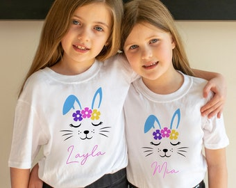 Personalised Easter Bunny Rabbit Girls Children/'s Kids T Shirts T-Shirt Top