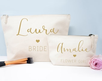 Personalized Stylish Handwritten Bridesmaid Gifts, Bridesmaid cosmetic bag, Gifts for the Bride, Accessory Bag, Toiletry Bridesmaid Bag