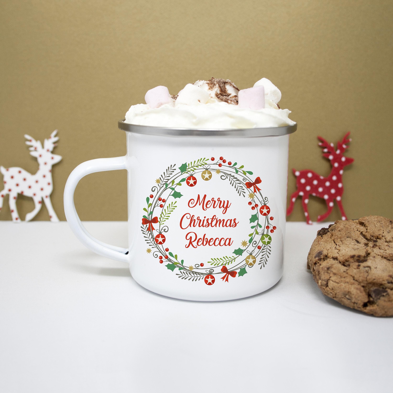 Personalised Merry Christmas Wreath Mug Festive Mug for Kids | Etsy
