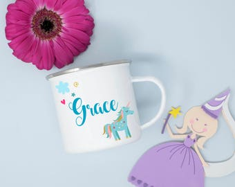 Personalised Pretty Unicorn Children's Enamel Mug, Personalised Mugs, Custom Children's Party Mugs and Supplies, Children's Drinking Mugs