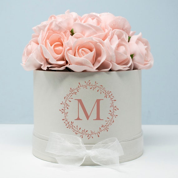 Personalised Floral Initial Hat Box Flower Wedding Gifts Etsy