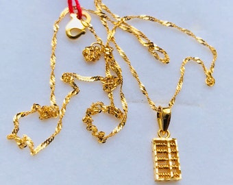 """18"""" set 22k gold 916 gold abacus pendant with slim twist chain necklace set"""