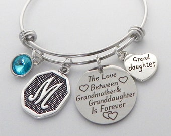 Personalized GRANDDAUGHTER Gift, Granddaughter Charm Bracelet, Granddaughter Jewelry, Gift from Grandmother, Love between Grandmother