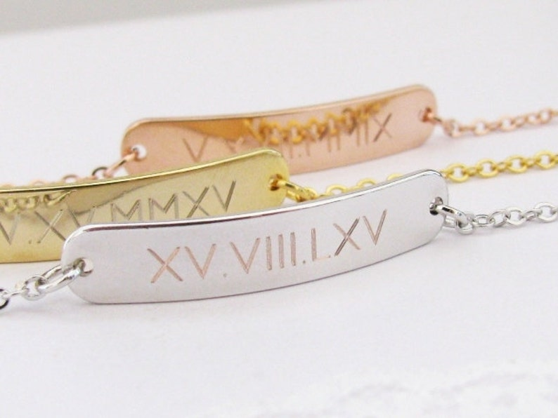 Silver or Rose Gold Name Plate Bracelet Engraved with Special Date Roman Numeral Bracelet \u2013 Gold