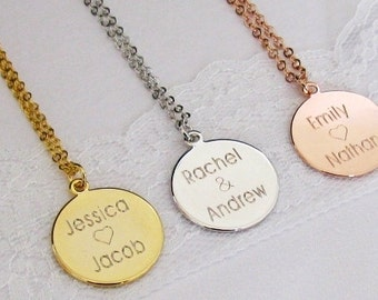 Personalized Disc, Rose Gold And Silver Disc Necklace, Personalized Charm, Circle Necklace, Engraved Name Necklace, Gift For Her, Wedding