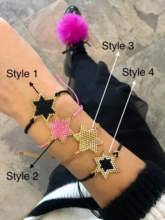 Miyuki Star Pulsera Pulsera de Moda Estrella Estrellas Pulsera de Abalorios Pulsera Con Borlas