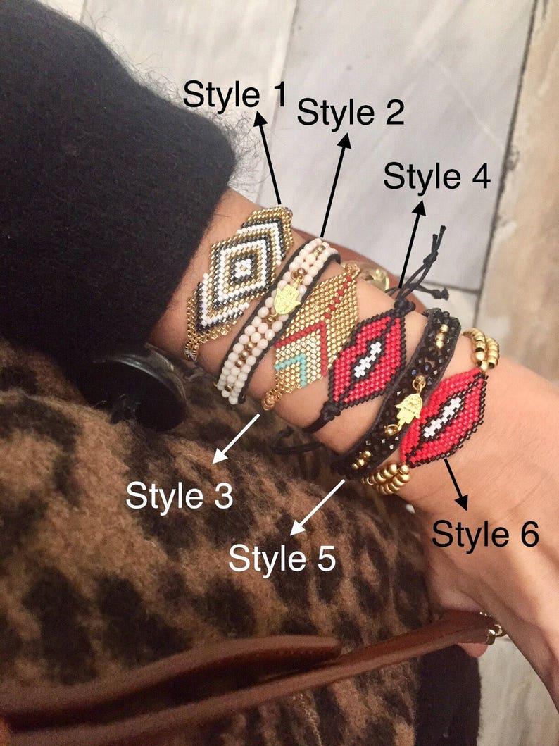 Colorful Bracelet Lips Jewelry Handmade Loomed Beaded Bracelet Hamsa Hand Miyuki Bracelet Adjustable Seed Bead Bracelet