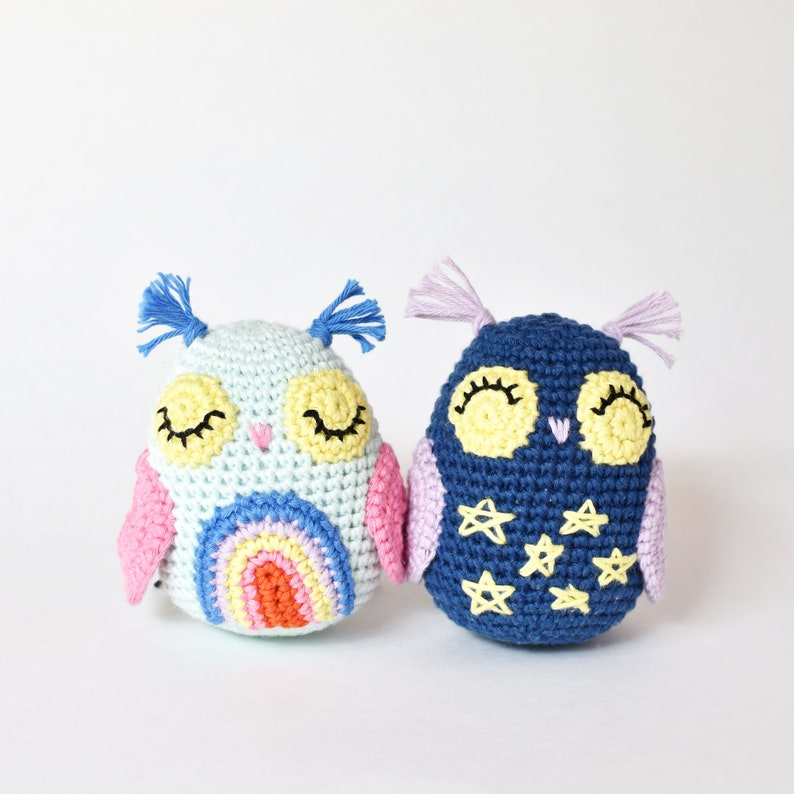 Day & Night Owls Crochet Pattern  Tiny Curl Amigurumi image 0