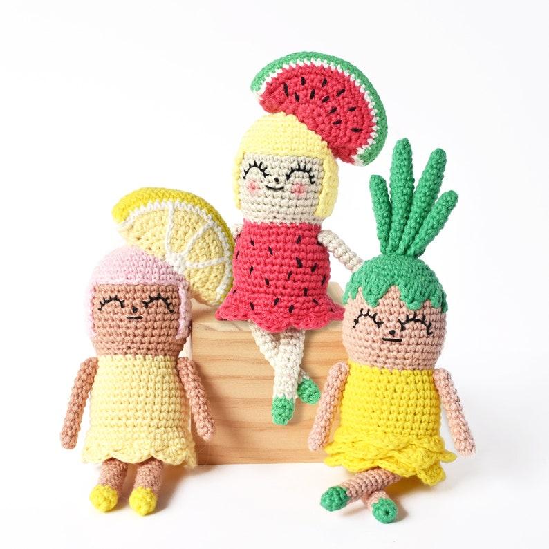 Fruit Girls Crochet Pattern  Tiny Curl Amigurumi Pattern image 0