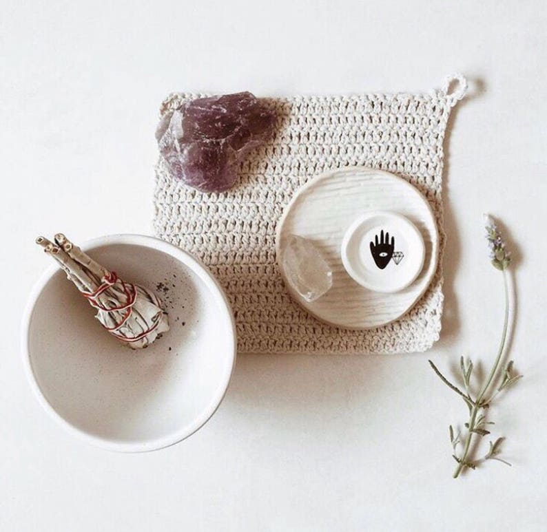 White Ring Dish with Cosmic Artwork